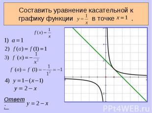 Составить уравнение касательной к графику функции в точке . Ответ: