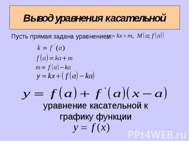 Вывод уравнения касательной Пусть прямая задана уравнением: уравнение касательной к графику функции