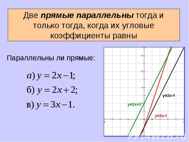 Две прямые параллельны тогда и только тогда, когда их угловые коэффициенты равны Параллельны ли прямые: