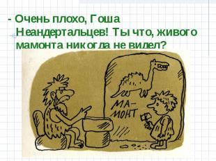 - Очень плохо, Гоша Неандертальцев! Ты что, живого мамонта никогда не видел?