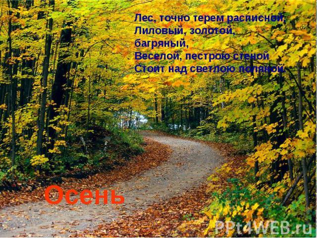 Лес, точно терем расписной,Лиловый, золотой, багряный,Веселой, пестрою стенойСтоит над светлою поляной. Осень