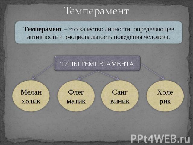 Темперамент – это качество личности, определяющее активность и эмоциональность поведения человека. ТИПЫ ТЕМПЕРАМЕНТА Меланхолик Флег матик Санг виник Холе рик