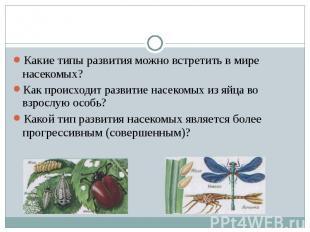 Какие типы развития можно встретить в мире насекомых?Как происходит развитие нас