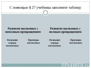 С помощью § 27 учебника заполните таблицу