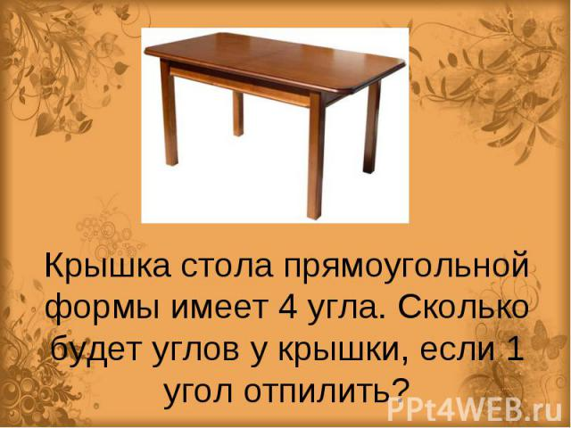 Крышка стола прямоугольной формы имеет 4 угла. Сколько будет углов у крышки, если 1 угол отпилить?