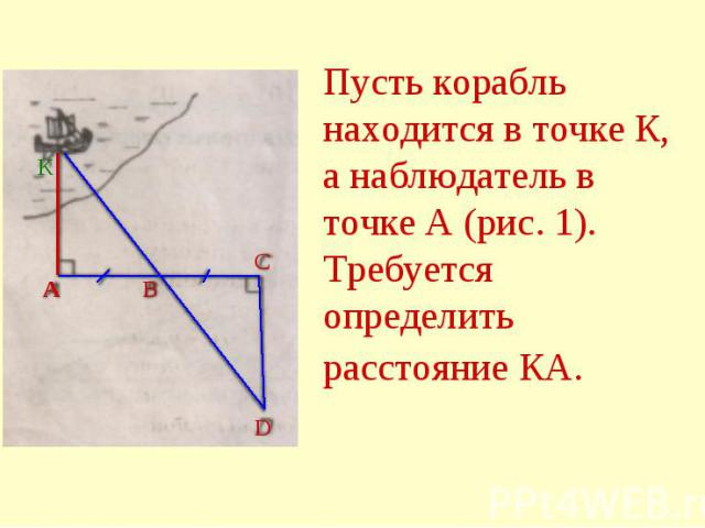 Пусть корабль находится в точке К, а наблюдатель в точке А (рис. 1). Требуется определить расстояние КА.