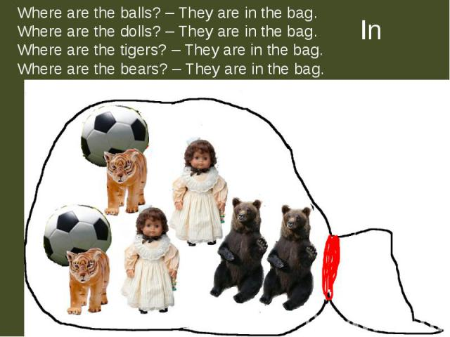 Where are the balls? – They are in the bag.Where are the dolls? – They are in the bag.Where are the tigers? – They are in the bag.Where are the bears? – They are in the bag.