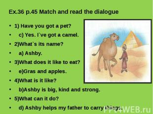 Ex.36 p.45 Match and read the dialogue 1) Have you got a pet? c) Yes. I`ve got a