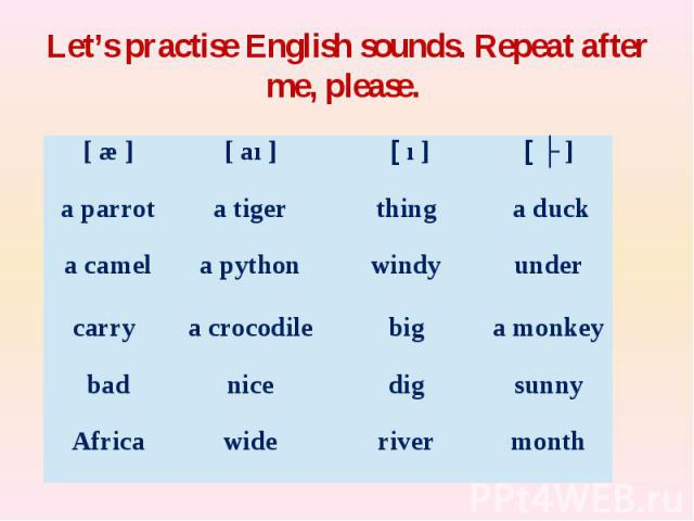 Let's practise English sounds. Repeat after me, please.