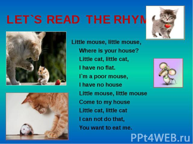 LET`S READ THE RHYME Little mouse, little mouse, Where is your house? Little cat, little cat, I have no flat. I`m a poor mouse, I have no house Little mouse, little mouse Come to my house Little cat, little cat I can not do that, You want to eat me.