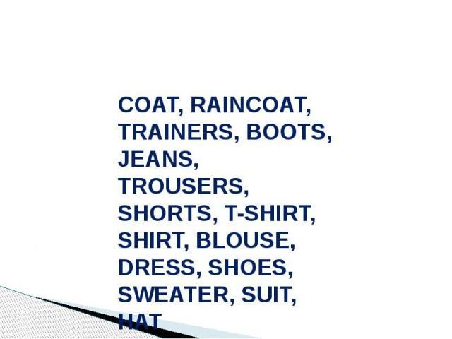 COAT, RAINCOAT, TRAINERS, BOOTS, JEANS, TROUSERS, SHORTS, T-SHIRT, SHIRT, BLOUSE, DRESS, SHOES, SWEATER, SUIT, HAT