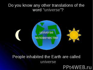 People inhabited the Earth are called universePeople inhabited the Earth are cal