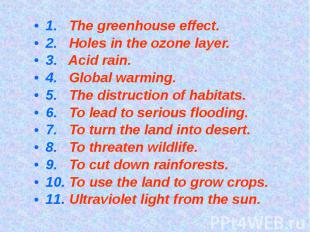 1. The greenhouse effect.2. Holes in the ozone layer.3. Acid rain.4. Global warm