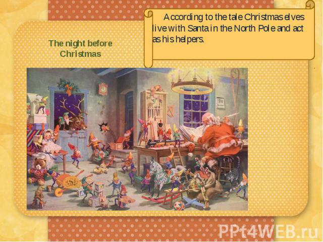 The night before Christmas According to the tale Christmas elves live with Santa in the North Pole and act as his helpers.