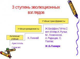 3 ступень эволюционных взглядов Ж.Бюффон,Гётте,Сент-Иллер,К.Рулье, М. Ломоносов,
