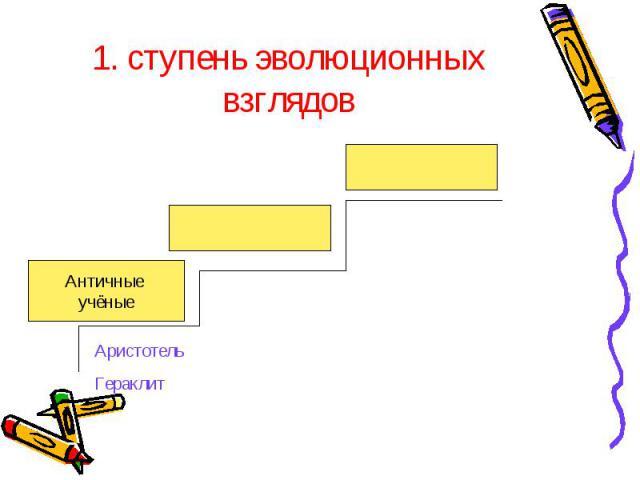 1. ступень эволюционных взглядов