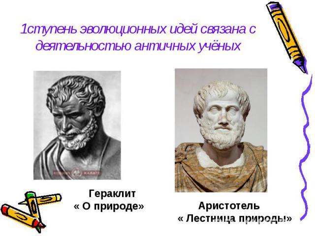 1ступень эволюционных идей связана с деятельностью античных учёных Гераклит« О природе» Аристотель« Лестница природы»