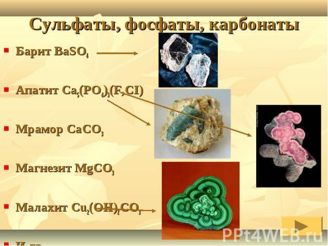Барит BaSO4Апатит Ca5(PO4)3(F,CI) Мрамор CaCO3Магнезит MgCO3Малахит Cu2(OH)2CO3И др.