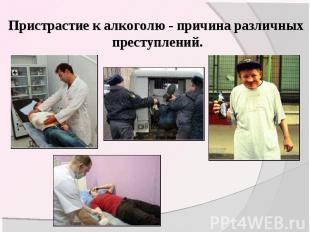 Пристрастие к алкоголю - причина различных преступлений.