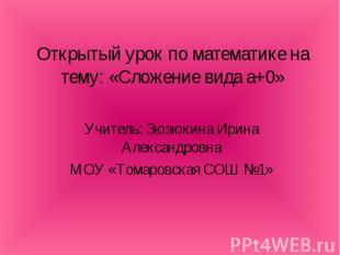 Открытый урок по математике на тему: «Сложение вида а+0» Учитель: Зюзюкина Ирина