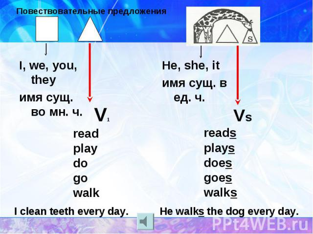 Повествовательные предложения I, we, you, theyимя сущ. во мн. ч. V1readplaydogowalk He, she, itимя сущ. в ед. ч. Vsreadsplaysdoesgoeswalks He walks the dog every day.