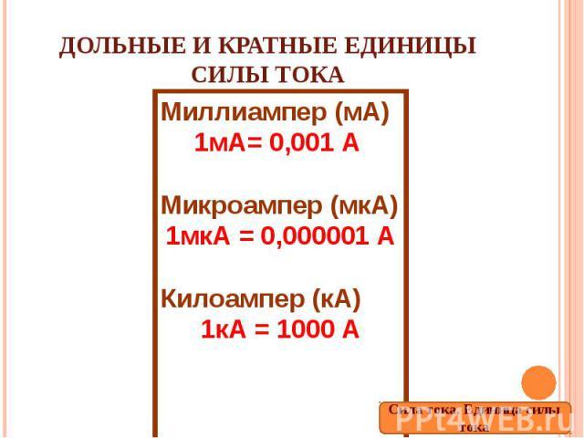 Дольные и кратные единицы силы тока Миллиампер (мА)1мА= 0,001 А Микроампер (мкА)1мкА = 0,000001 АКилоампер (кА)1кА = 1000 А