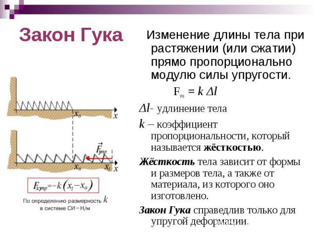 Изменение длины тела при растяжении (или сжатии) прямо пропорционально модулю силы упругости. Fупр. = k ΔlΔl- удлинение телаk – коэффициент пропорциональности, который называется жёсткостью.Жёсткость тела зависит от формы и размеров тела, а также от…