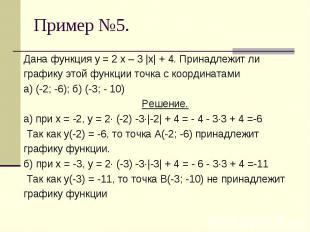 Дана функция у = 2 х – 3 |х| + 4. Принадлежит лиграфику этой функции точка с коо