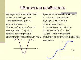 Чётность и нечётность Функция наз-ся чётной, если:область определения функции си