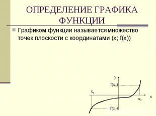 ОПРЕДЕЛЕНИЕ ГРАФИКА ФУНКЦИИ Графиком функции называется множество точек плоскост