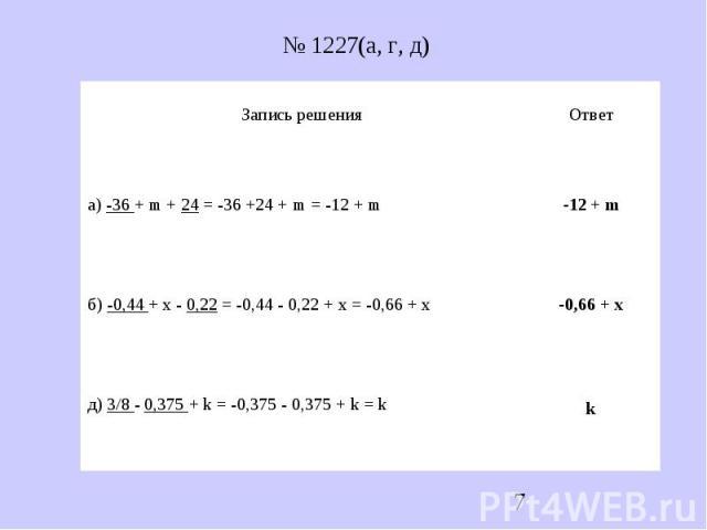 № 1227(а, г, д)