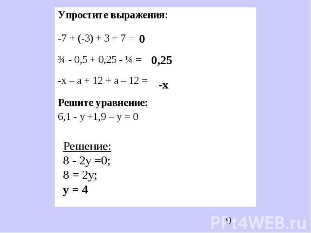 Упростите выражения:-7 + (-3) + 3 + 7 =¾ - 0,5 + 0,25 - ¼ =-х – а + 12 + а – 12 =Решите уравнение:6,1 - у +1,9 – у = 0 Решение:8 - 2у =0;8 = 2у;у = 4