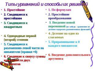 Типы уравнений и способы их решений 1. Простейшие2. Сводящиеся к простейшим3. Св