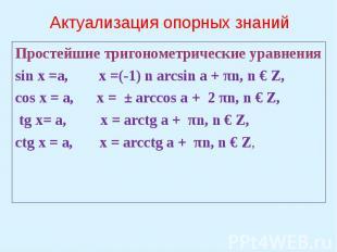 Актуализация опорных знаний Простейшие тригонометрические уравненияsin x =a, x =