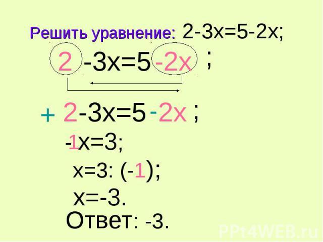 Решить уравнение: 2-3x=5-2x; -3x=5
