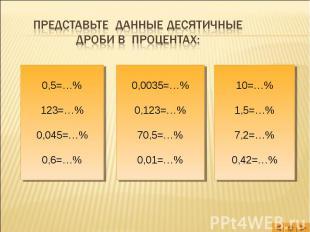 Представьте данные десятичные дроби в процентах: 0,5=…%123=…%0,045=…%0,6=…% 0,00