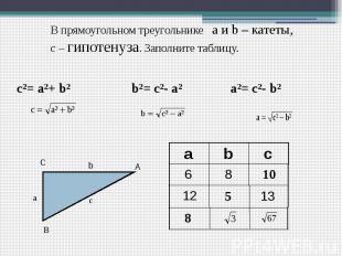 В прямоугольном треугольнике а и b – катеты, с – гипотенуза. Заполните таблицу.