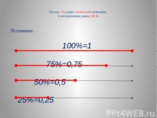 Так как 1% равен сотой части величины, то вся величина равна 100 %. Вспомним… 10