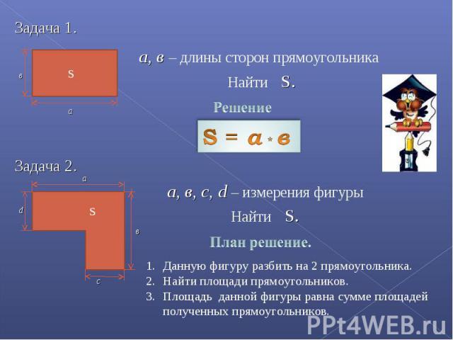 а, в – длины сторон прямоугольника Найти S. а, в, с, d – измерения фигуры Данную фигуру разбить на 2 прямоугольника.Найти площади прямоугольников.Площадь данной фигуры равна сумме площадей полученных прямоугольников.