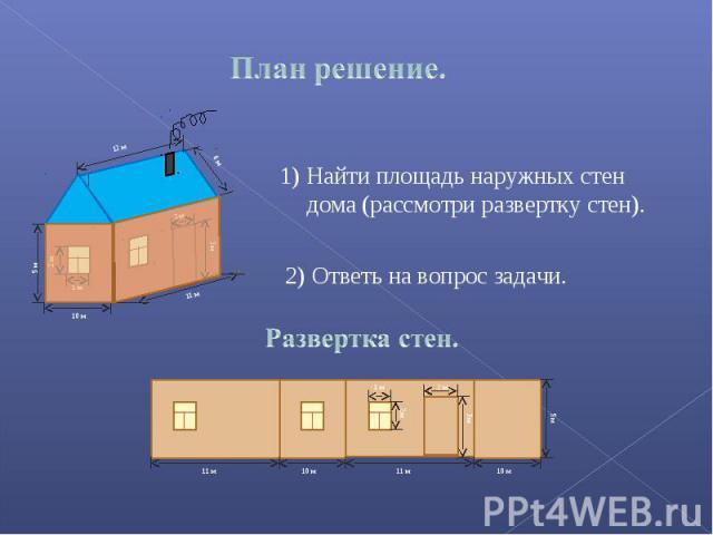 Найти площадь наружных стен дома (рассмотри развертку стен). Ответь на вопрос задачи. Развертка стен.