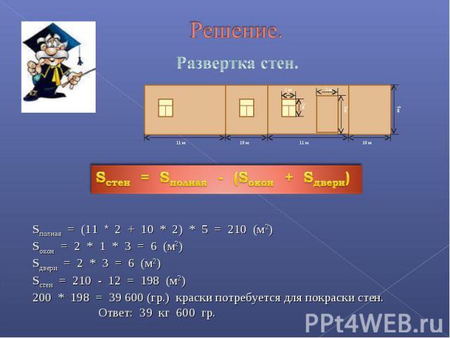 Развертка стен. Sполная = (11 * 2 + 10 * 2) * 5 = 210 (м2)Sокон = 2 * 1 * 3 = 6 (м2)Sдвери = 2 * 3 = 6 (м2)Sстен = 210 - 12 = 198 (м2)200 * 198 = 39 600 (гр.) краски потребуется для покраски стен. Ответ: 39 кг 600 гр.