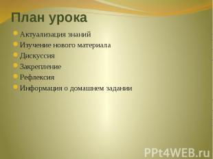 План урока Актуализация знанийИзучение нового материалаДискуссияЗакрепление Рефл