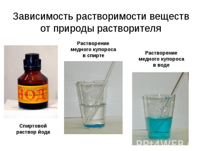 Зависимость растворимости веществ от природы растворителя Спиртовой раствор йода Растворение медного купороса в спирте Растворение медного купороса в воде