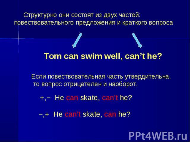 Структурно они состоят из двух частей: повествовательного предложения и краткого вопроса Tom can swim well, can't he? Если повествовательная часть утвердительна, то вопрос отрицателен и наоборот. +,− He can skate, can't he? −,+ He can't skate, can he?