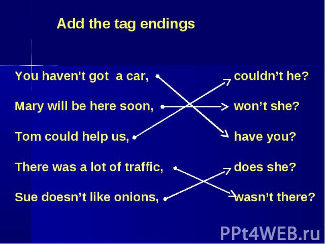 Add the tag endings You haven't got a car,Mary will be here soon,Tom could help us,There was a lot of traffic,Sue doesn't like onions, couldn't he?won't she?have you?does she?wasn't there?
