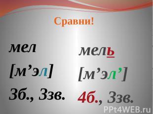 Сравни! мел[м'эл]3б., 3зв. мель[м'эл']4б., 3зв.