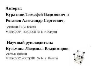 Авторы: Куратник Тимофей Вадимович иРоганов Александр Сергеевич, ученики 8 «А» к