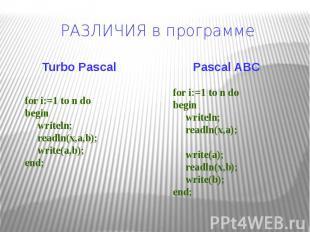 РАЗЛИЧИЯ в программе Turbo Pascal for i:=1 to n dobegin writeln; readln(x,a,b);