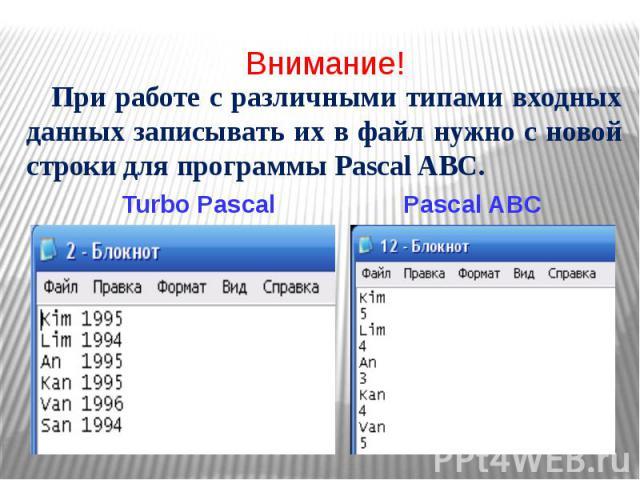 Внимание! При работе с различными типами входных данных записывать их в файл нужно с новой строки для программы Pascal ABC. Turbo Pascal Pascal ABC