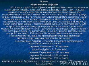 Проект «Булгаково в цифрах»2010 год – год 80 летия Уфимского района. Мы хотим ра